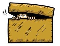 Illustration de bande dessinée de l'enfant effrayé se cachant dans la boîte illustration stock