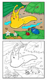 Illustration de bande dessinée de page de coloration d'escargot pour des enfants Images libres de droits