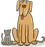 Petit chat et grande illustration de bande dessinée de chien Photos libres de droits