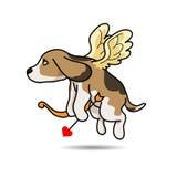 Illustration de bande dessinée de vecteur de cupidon de chien Photographie stock libre de droits