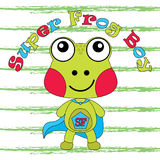 Illustration de bande dessinée de vecteur de grenouille mignonne en tant que garçon superbe de grenouille Images stock