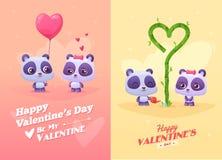 Illustration de bande dessinée de vecteur de panda mignon de couples Photo stock