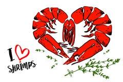 Illustration de bande dessinée de deux crevettes de tigre avec les herbes vertes sur le fond blanc illustration de vecteur