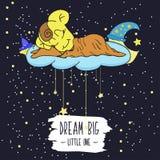 Illustration de bande dessinée du dessin de main d'une lune de sourire, des étoiles et de l'enfant de sommeil Grand petit le rêve illustration stock