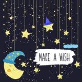 Illustration de bande dessinée du dessin de main d'une lune de sourire et étoiles lumineuses en baisse Effectuez un souhait Vecte illustration libre de droits