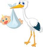 Bande dessinée mignonne de cigogne avec le bébé Image stock