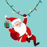Illustration de bande dessinée de vecteur de char traditionnel mignon de Santa Claus Photographie stock libre de droits