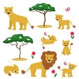 Illustration de bande dessinée de vecteur de collection de famille de lion illustration de vecteur