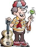 Illustration de bande dessinée de vecteur d'un lecteur de musique heureux de guitare image libre de droits