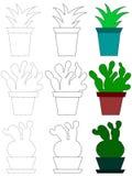 Illustration de bande dessinée de vecteur des icônes de cactus pour colorer dans un style plat illustration libre de droits