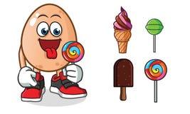 Illustration de bande dessinée de vecteur de mascotte de crème glacée d'oeufs illustration de vecteur