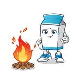 Illustration de bande dessinée de vecteur de mascotte du feu de camp de lait illustration de vecteur