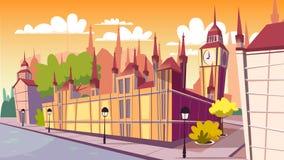 Illustration de bande dessinée de vecteur de paysage urbain de jour de Lodon illustration stock