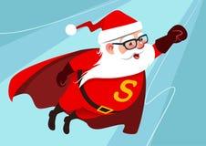 Illustration de bande dessinée de vecteur de Santa Claus drôle mignonne comme superhe Image libre de droits