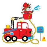 Illustration de bande dessinée de vecteur de sapeur-pompier sur le fond blanc illustration libre de droits