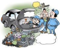Illustration de bande dessinée d'un mécanicien autiste intelligent qui a joué le moteur entier à part Photo libre de droits