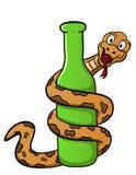 Illustration de bande dessinée d'un serpent enroulé autour d'une bouteille Images libres de droits