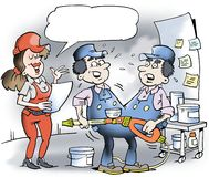 Illustration de bande dessinée de mécanicien de deux jumeaux siamois Photographie stock libre de droits