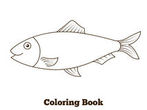 Illustration de bande dessinée de poissons d'harengs de livre de coloriage Photo libre de droits