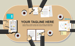 Illustration de bannière Concepts plats d'illustration de conception pour se réunir, discussion, analyse, fonctionnement, gestion Images stock