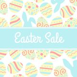 Illustration de bannière spéciale de vente de Pâques avec l'oeuf et le lapin roses Image libre de droits