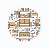 Illustration de bannière de vente de meubles avec la ligne plate icônes Affiche intérieure de magasin Salon, chambre à coucher, c Images stock
