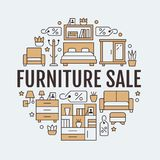 Illustration de bannière de vente de meubles avec la ligne plate icônes Chambre à coucher de salon, chaise de siège social, cuisi Photographie stock libre de droits