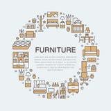 Illustration de bannière de vente de meubles avec la ligne plate icônes Salon, chambre à coucher, chaise de siège social, cuisine Images libres de droits