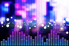 Illustration de barre d'égaliseur de musique à l'arrière-plan brillant Image libre de droits