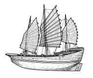 Illustration de bateau d'ordure, dessin, gravure, encre, schéma, vecteur illustration libre de droits