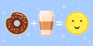Illustration de beignet avec le lustre de chocolat, la tasse de café et le visage jaune de sourire Photo libre de droits