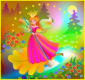 Illustration de belle fée flottant en bas de la rivière dans la forêt magique Photos libres de droits