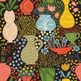 Illustration de belles fleurs et plantes tirées par la main Images stock
