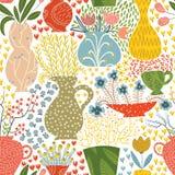 Illustration de belles fleurs et plantes tirées par la main Photos libres de droits