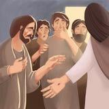 Illustration de bible au sujet de résurrection de Jesus Christ et d'aspect aux disciples et aux apôtres illustration de vecteur