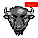 Illustration de Bison Bull Mascot Head Vector d'Américain Symbole noir et blanc d'animal de tête de Buffalo Photo libre de droits