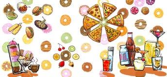 Illustration de boissons et de nourritures de désert Photos stock