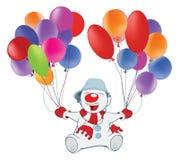 Illustration de bonhomme de neige et de Toy Balloons mignons le chef heureux de crabots mignons effrontés de personnage de dessin Images libres de droits