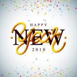 Illustration 2018 de bonne année avec la conception entrelacée de typographie de tube et confettis colorés sur le fond blanc Image stock