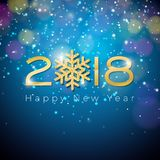 Illustration 2018 de bonne année de vecteur sur le fond bleu d'éclairage brillant avec la typographie Images stock