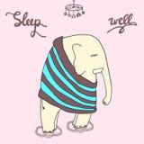 Illustration de bonne nuit Inscription bonne de sommeil avec un slee de citation Image libre de droits