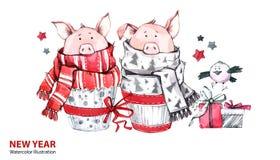 Illustration de 2019 bonnes années le cadre de fond enferme dans une boîte les bandes d'isolement d'or de cadeau de Noël blanches illustration libre de droits