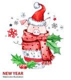Illustration de 2019 bonnes années Noël Porc mignon dans l'écharpe d'hiver avec le chapeau de Santa Gâteau d'aquarelle de salutat illustration de vecteur