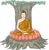 Illustration de Bouddha, d'isolement sur le blanc, l'éclaircissement de Bouddha Photographie stock
