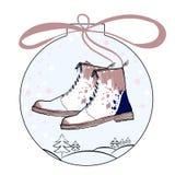 Illustration de boule de Noël avec des chaussures de femmes d'hiver Chaussure pour la dame chaque jour Vente et remise d'achats v Photos stock