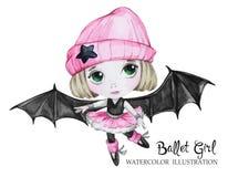 Illustration de célébration Fille de ballet d'aquarelle avec des ailes de batte Petite sorcière adolescent Partie d'horreur de Ha illustration stock