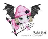 Illustration de célébration Fille de ballet d'aquarelle avec des ailes de batte Petite sorcière adolescent Partie d'horreur de Ha Photo stock