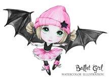 Illustration de célébration Fille de ballet d'aquarelle avec des ailes de batte Petite sorcière adolescent Partie d'horreur de Ha Photographie stock