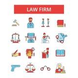 Illustration de cabinet d'avocats, ligne mince icônes, signes plats linéaires, symbole de vecteur illustration de vecteur