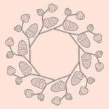 Illustration de cadre rond de brindille graphique de chêne avec des glands illustration libre de droits